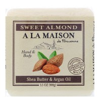 A La Maison traditional french milled bar soap for hand & body sweet almond, shea butter & argan oil - 3.5 oz