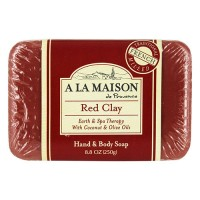 A La Maison traditional french milled bar soap for hand & body red clay with coconut & olive oils - 8.8 oz