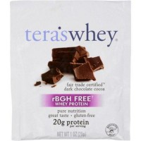 Teras whey protein powder whey fair trade certified dark chocolate cocoa - 1 oz, 12 pack
