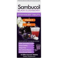 Sambucol black elderberry vitamin c zinc dietary supplement effervescent tablets - 15 ea