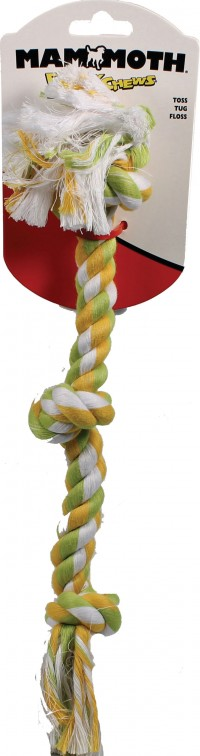 Mammoth Pet Products flossy chews color 3 knot rope tug dog toy - 15 inch/small, 120 ea