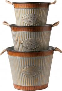 Deer Park Ironworks wide corrugated tub planter - set of 3, 2 ea