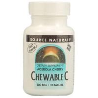 Source Naturals chewable C 500mg acerola cherry tablets - 10 ea