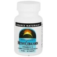 Source Naturals Methylcobalamin vitamin B-12 sublingual 5 mg tablets - 30 ea