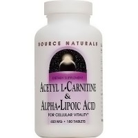 Source Naturals Acetyl L-carnitine and Alpha-lipoic acid 650 mg tablets - 180 ea