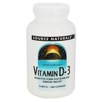 Source Naturals Vitamin D-3 5000 IU capsules for bone and immune health - 240 ea