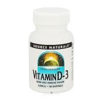 Source Naturals Vitamin D-3 5000 IU softgels - 100 ea