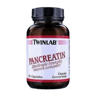 Twinlab Pancreatin (quadruple strength) digestive supplement capsules - 50 ea
