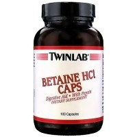 TwinLab Betaine Hcl digestive aid capsules with pepsin - 100 ea