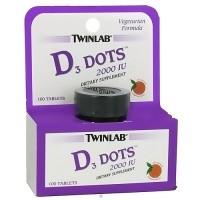 Twinlab Vitamin D3 Dots 2000 IU Tablets, Tangerine Flavor - 100 ea