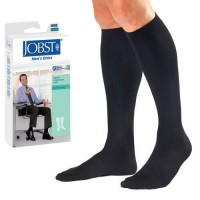 Jobst men's dress knee high 8-15 closed toe socks, navy, large - 1 ea
