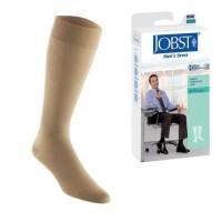 Jobst men's dress knee high 8-15 closed toe socks, khaki, large - 1 ea