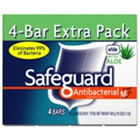 Safeguard antibacterial deodorant white bar soap with aloe - 4 oz