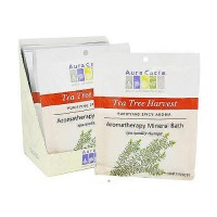 Aura Cacia mineral bath salt tea tree harvest Packet - 2.5 oz, 6 pack