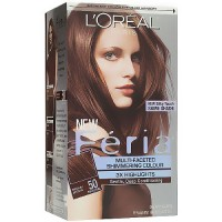 Loreal Feria Multi Faceted Shimmering Haircolor, 50 Medium Brown - Kit