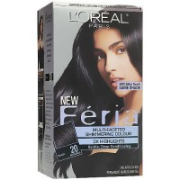 Loreal Feria Multi Faceted Shimmering Permanent Haircolor, 20 Black - Kit