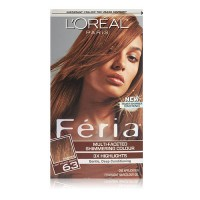 Loreal Feria multi faceted shimmering hair color, 63 sparkling amber, light golden brown, 1 ea