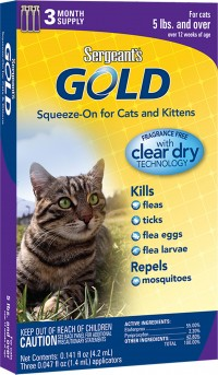Sergeant'S Pet Products P gold squeeze-on for cats - over 5lb/3 pack, 24 ea