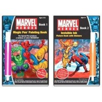Marvel heroes yes know magic paint and sticker books - 3 ea