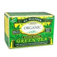 St. Dalfour green tea premium organic, golden mango - 25 tea bags , 6 pack