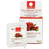 Radius Vegan Cranberry Floss, Anti-Bacterial - 55 yards, 6 pack