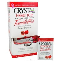 Crystal body deodorant crystal essence mineral deodorant towelettes pomegranate - 0.1 oz