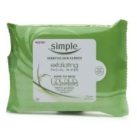 Simple Sensitive Skin Experts exfoliating facial wipes, kind to skin - 25 ea