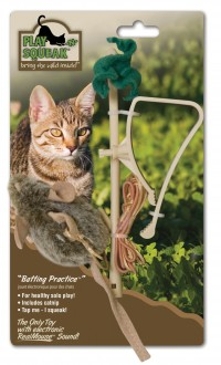 Ourpets Company play-n-squeak batting practice hanging toy - 24 ea