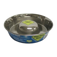Ourpets Company slow feed stainless steel bowl - large, 24 ea
