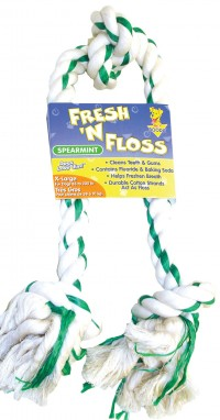 Booda Products fresh-n-floss 3-knot rope bone dog toy - extra large, 6 ea