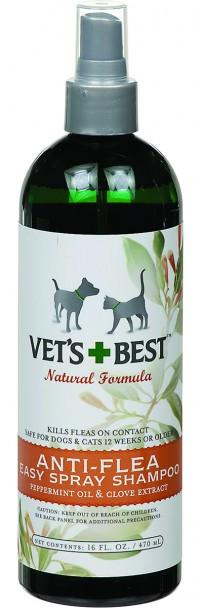 Bramton Company vet's+best anti-flea easy spray shampoo for dogs - 16 oz, 12 ea