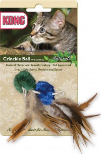 Kong Company kong naturals crinkle ball with feather - 48 ea