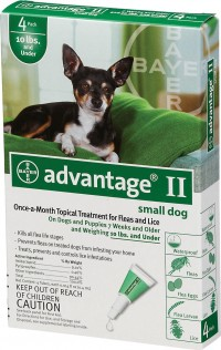F.C.E. Inc D advantage ii dog green - 0-10 lb/4 pk, 12 ea