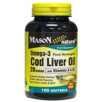 Mason natural cod liver oil 20 minims food supplement softgels - 100 Ea