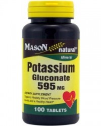 Mason Natural Potassium Gluconate 595 Mg Tablets, Extended Release - 100 Ea