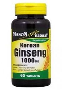 Mason Natural Korean Ginseng 1000 Mg White Panax Ginseng Root - 60 Capsules