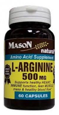 Mason Natural L-Arginine 500 Mg Capsules, Amino Acid - 60 Capsules