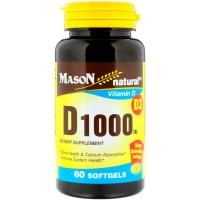 Mason natural vitamin D 1000 iu enhance calcium absorption softgels - 60 Ea
