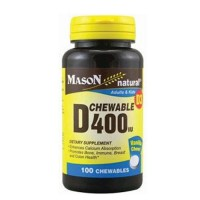 Mason Natural Vitamin D 400 Iu Chewable Tablets, Vanilla Flavor - 100 Ea