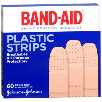 Band aid plastic brand adhesive bandages strips all one size - 4 ea