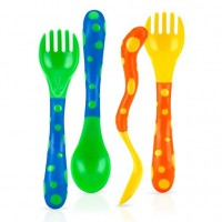 Nuby spoon and fork, colors may vary - 6 ea
