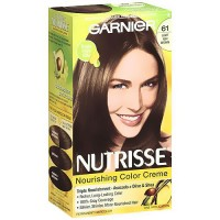 Garnier Nutrisse Nourishing Color Cream Permanent Haircolor, Light Ash Brown 61 - 1 Kit