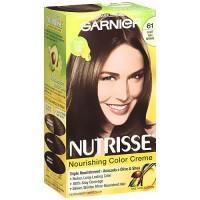 Garnier Nutrisse Nourishing Color Cream Permanent Haircolor, Light Ash Brown 61 - 1 Kit