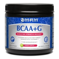 MRM bcaa plus g for muscle recovery, green apple - 0.396 lbs
