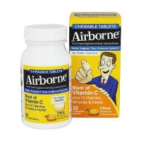 Airborne Blast Citrus Vitamin C Chewable Tablets Support Immune System - 32 Ea