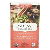 Numi Organic Black Tea, Golden Chai - 18 Tea Bags