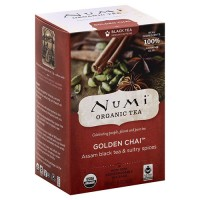 Numi organic black tea medium caffeine, Golden chai - 18 ea, 6 pack