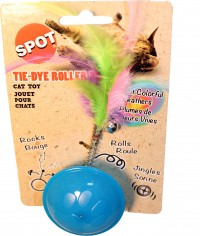 Ethical Cat tie dye roller ball/feathers catnip - 6 inch, 48 ea