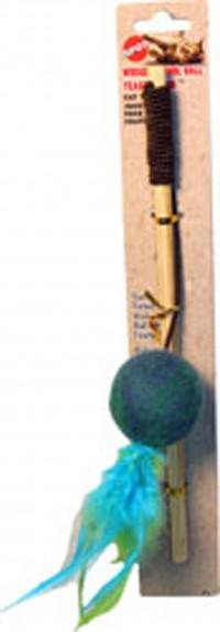 Ethical Cat wuggle wool ball teaser wand - 10 inch, 48 ea