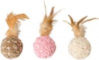Ethical Cat chenille chaser feather ball cat toy - 5in, 48 ea